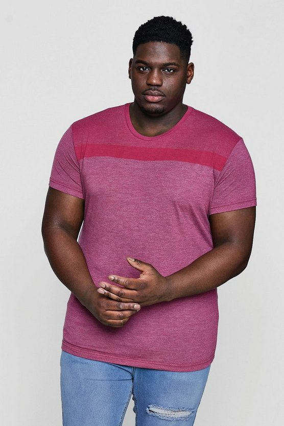 Mens Pink Big And Tall Stripe Panel T-Shirt