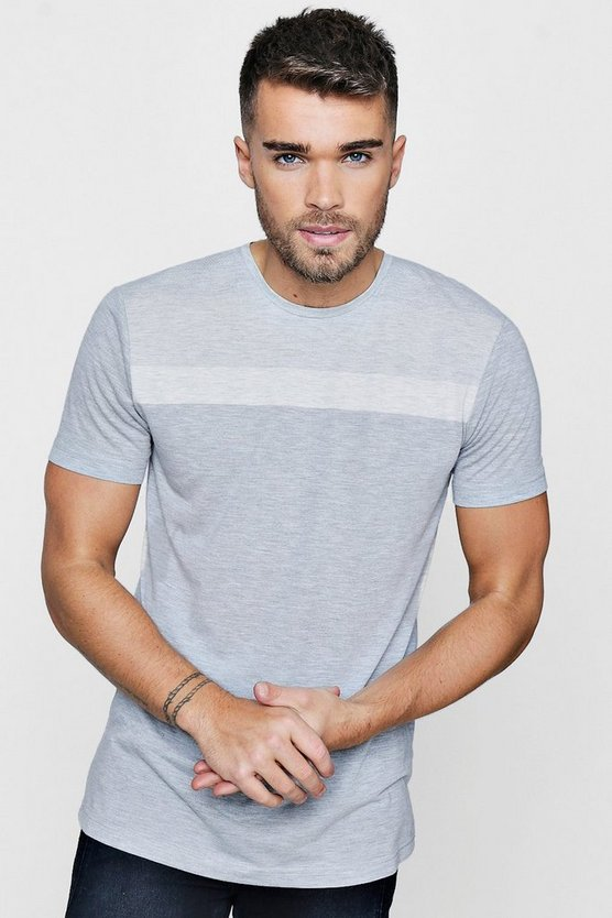 Mens Grey Stripe Panel T-Shirt
