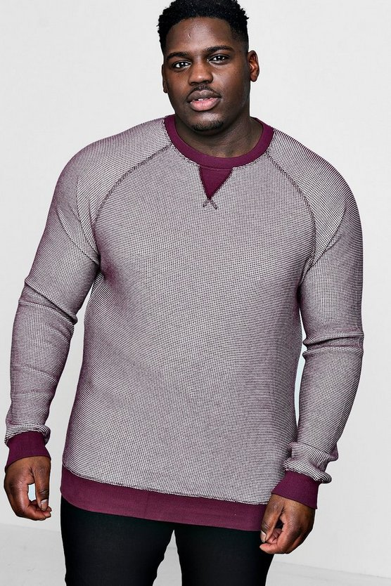 Mens Burgundy Big And Tall Waffle Knit Raglan Sweater