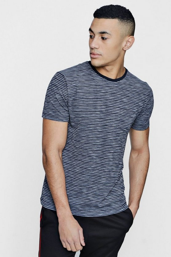 Crew Neck Jacquard Stripe T-Shirt