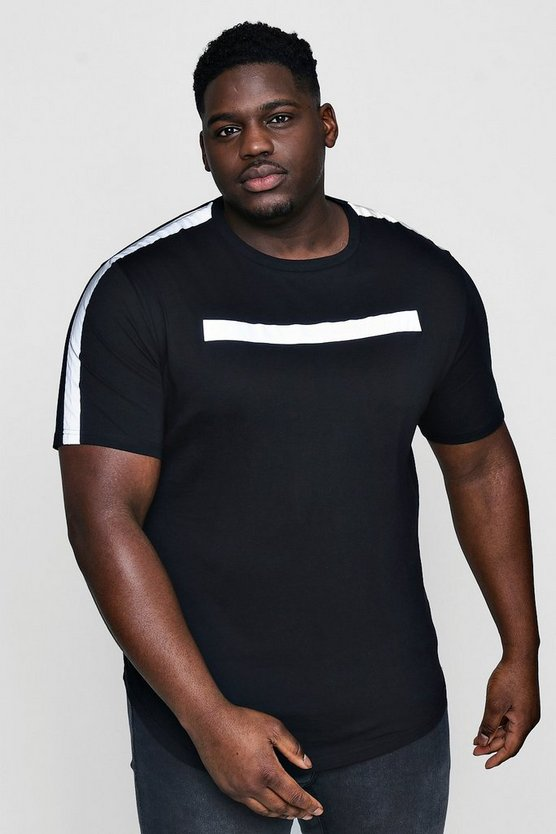 Big And Tall Black Reflective Panel T-Shirt