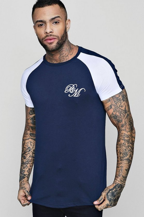 Mens Navy Longline MAN Embroidered Raglan T-Shirt