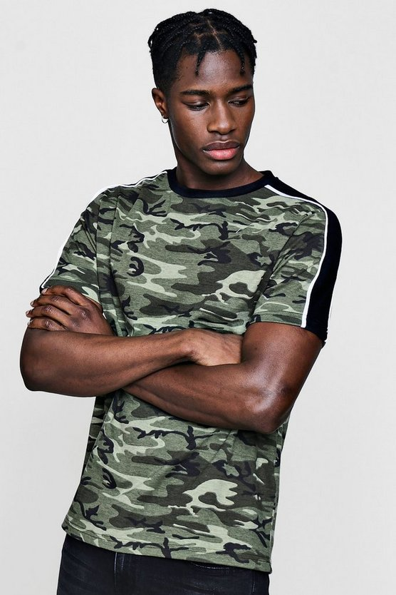 Camo T-Shirt With Velour Panel