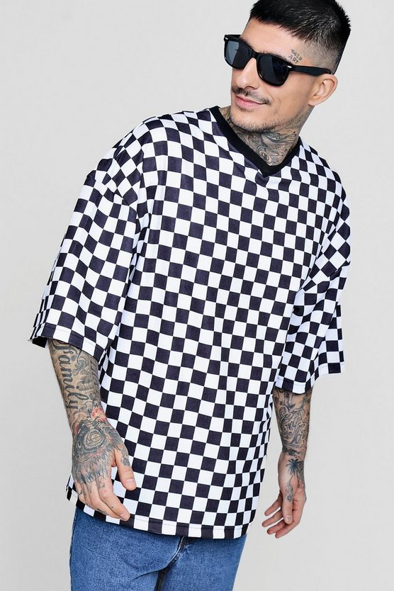 Oversized Checkerboard T-Shirt With Rib