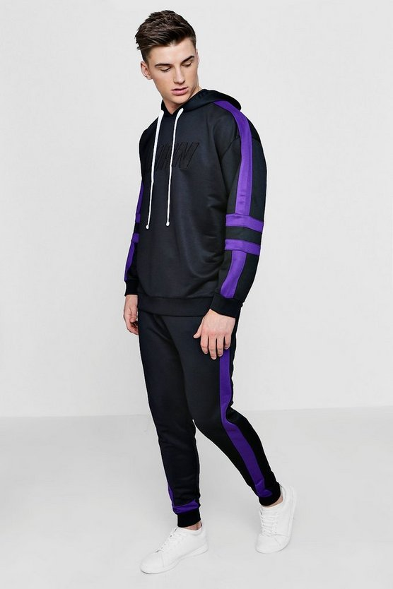 Oversized MAN Moto Tracksuit In Tricot