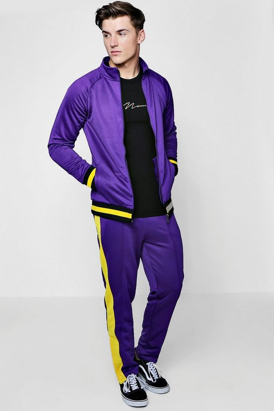 Skinny Fit Funnel Neck Sports Tracksuit