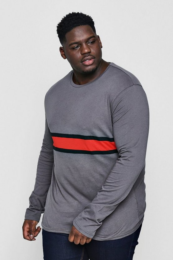 Big And Tall Long Sleeve Colour Block Tee
