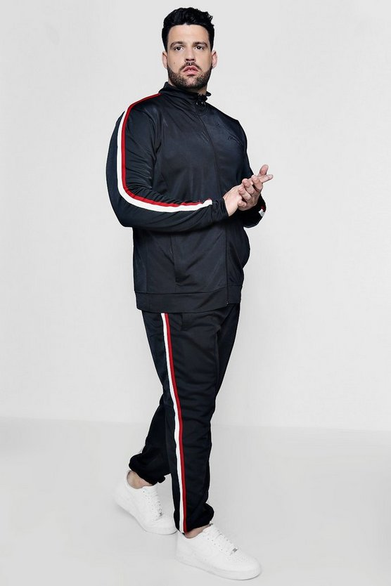 Mens Black Big And Tall Funnel Neck Tricot Tracksuit