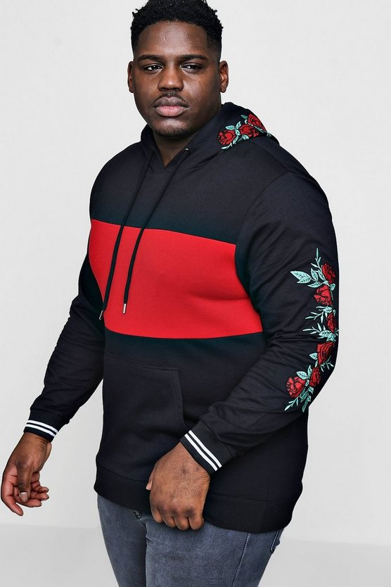 Big And Tall Colour Block Embroidery Hoodie