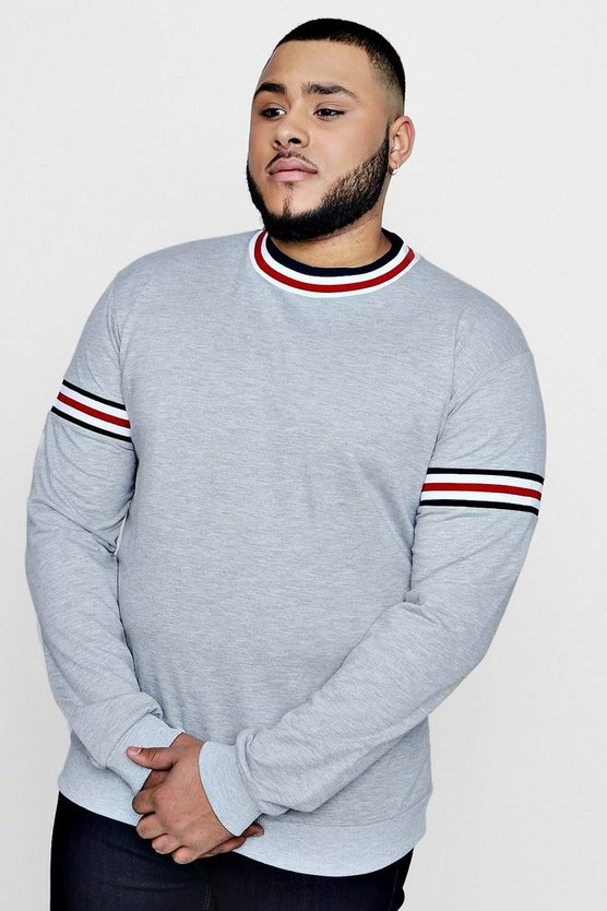Big and Tall Over The Head Hoodie With Sports Rib