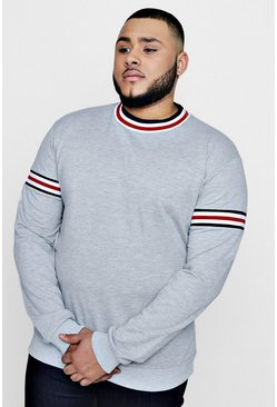 Mens Grey Big and Tall Over The Head Hoodie With Sports Rib