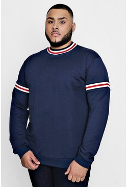 Mens Navy Big and Tall Over The Head Hoodie With Sports Rib
