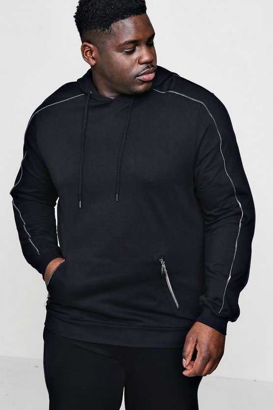 Mens Black Big And Tall Multi Zip Detail Hoodie