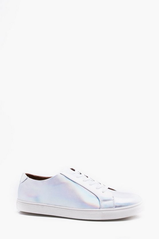 Iridescent PU Lace Up Trainer