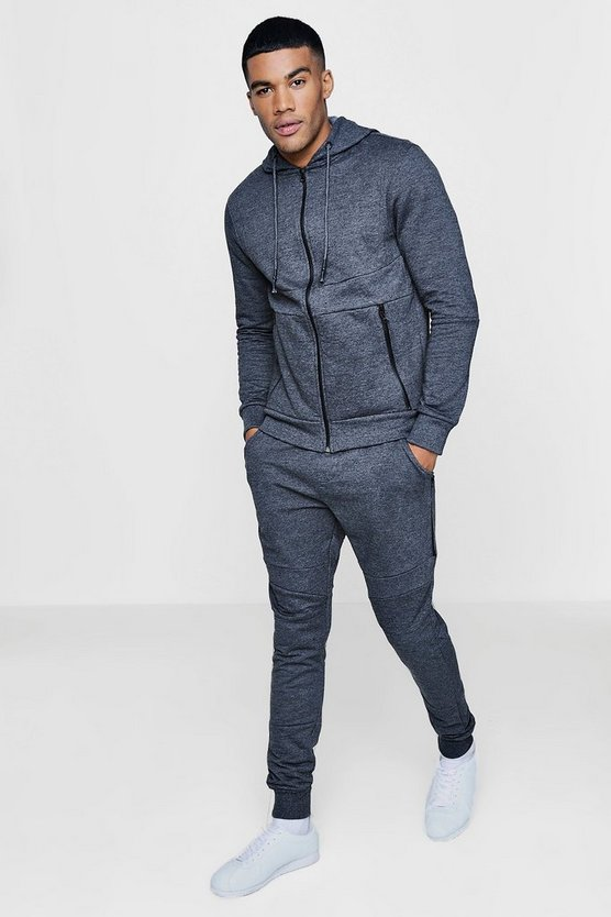 Mens Charcoal Skinny Fit Tracksuit With Panels