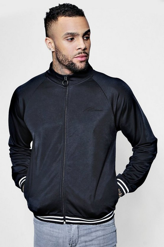Mens Black Funnel Neck MAN Signature Zip Through Track Top