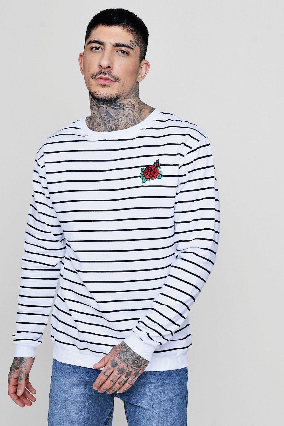 5530939843e8d Estampado a rayas con bordado de rosas suéter