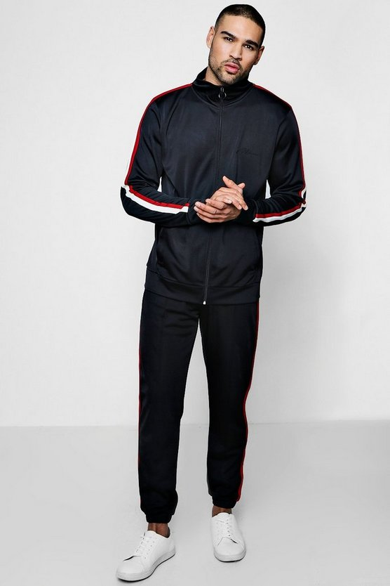 Funnel Neck Tricot Tracksuit With Side Tape