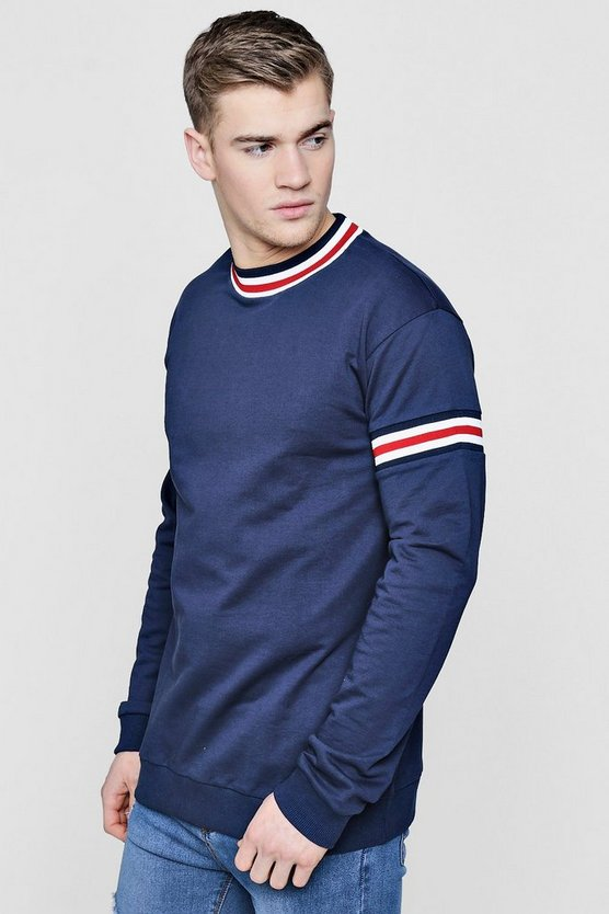 Mens Navy Sweater With Sports Rib