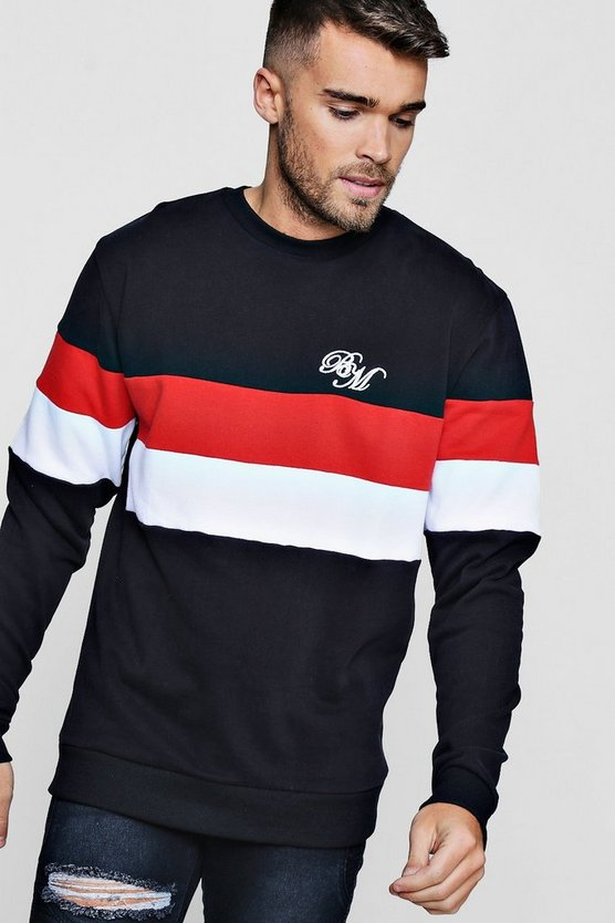 MAN Embroidered Colour Block Sweater
