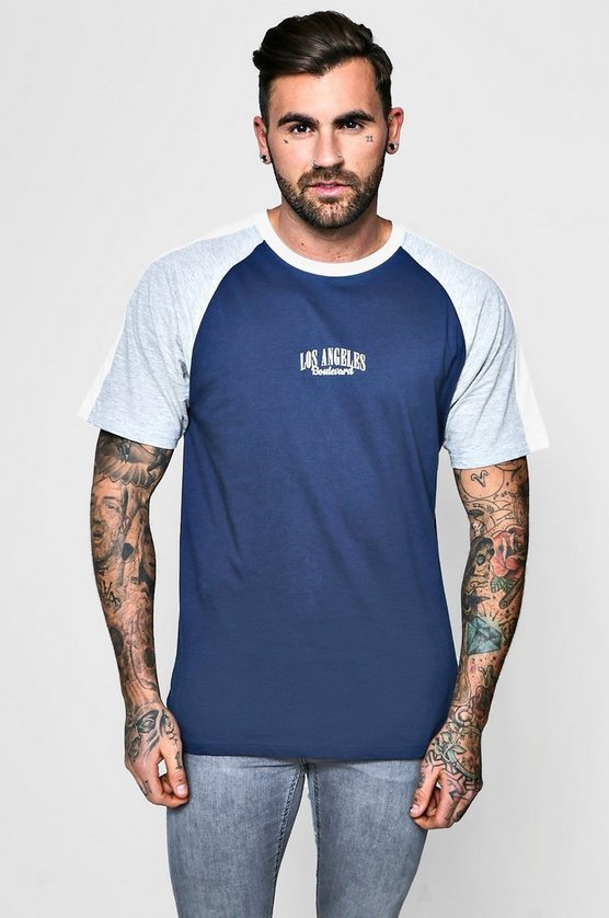 Colour Block Raglan T-Shirt With Print