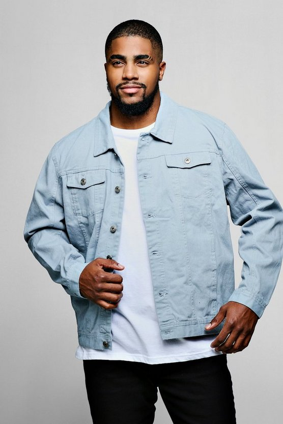 Mens Pale blue Big And Tall 4 Pocket Denim Jacket