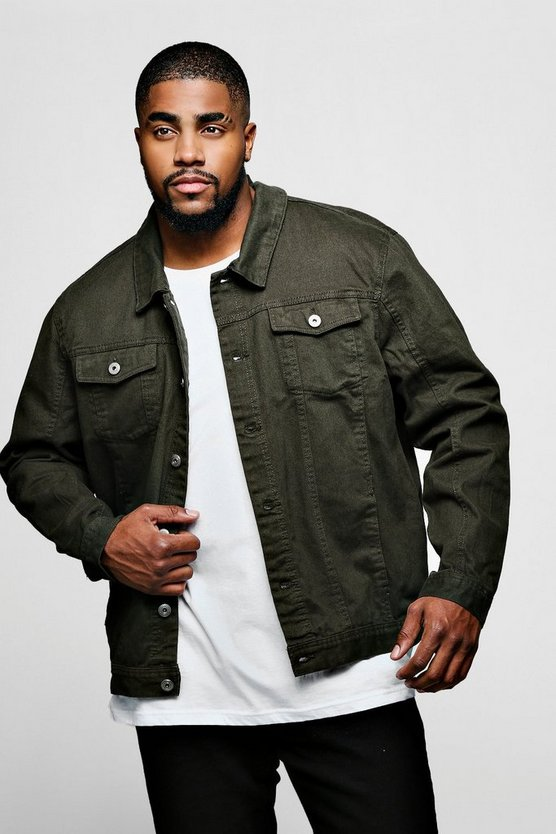 Mens Khaki Big And Tall 4 Pocket Denim jacket