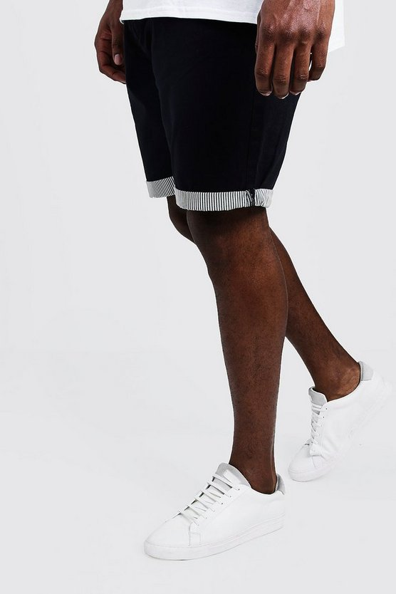 Mens Navy Big And Tall Chino Short With Stripe Turn Up