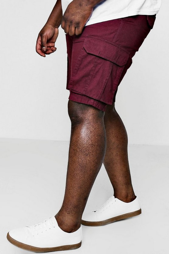 Burgundy Big And Tall Cotton Cargo Short