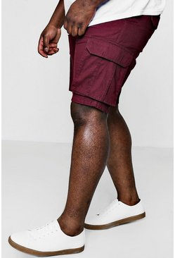 Mens Burgundy Big And Tall Cotton Cargo Short