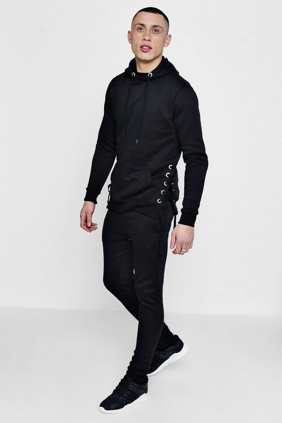Mens Black Skinny Fit Eyelet Detail Tracksuit