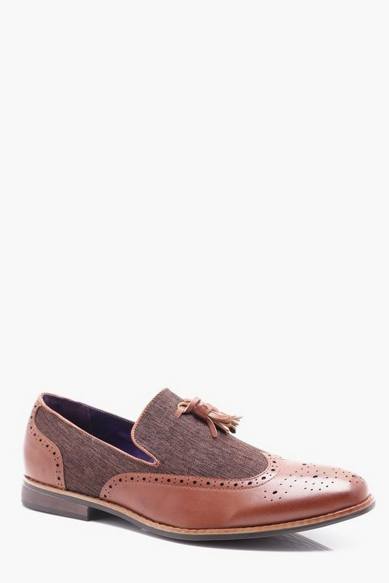 PU And Textile Mix Tassel Loafer