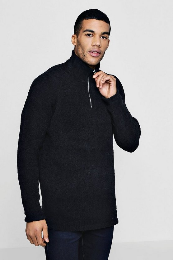 Funnel Neck Zip Knitted Jumper