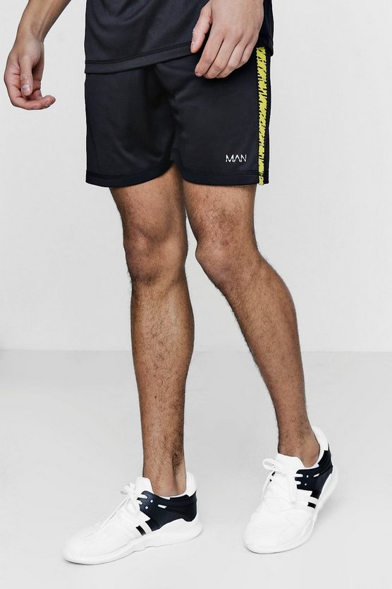 Yellow Active Gym Shorts With Printed Side Panel