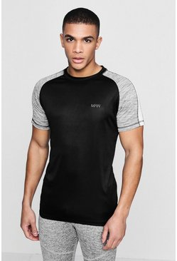 Mens Black Active Raglan Colour Block Gym T-Shirt