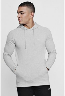 Grey Active Over The Head Embroidered Gym Hoodie