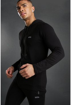 Herr Black Active Zip Through Embroidered Gym Hoodie