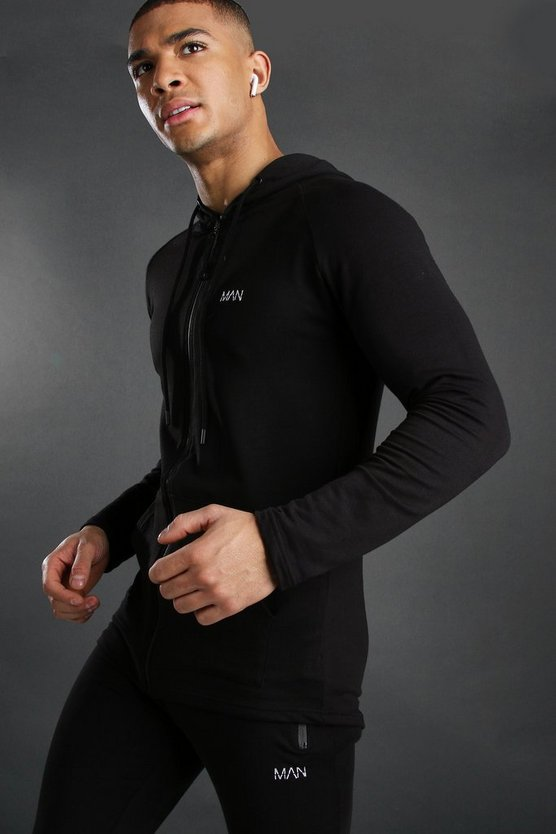Mens Black Active Zip Through Embroidered Gym Hoodie