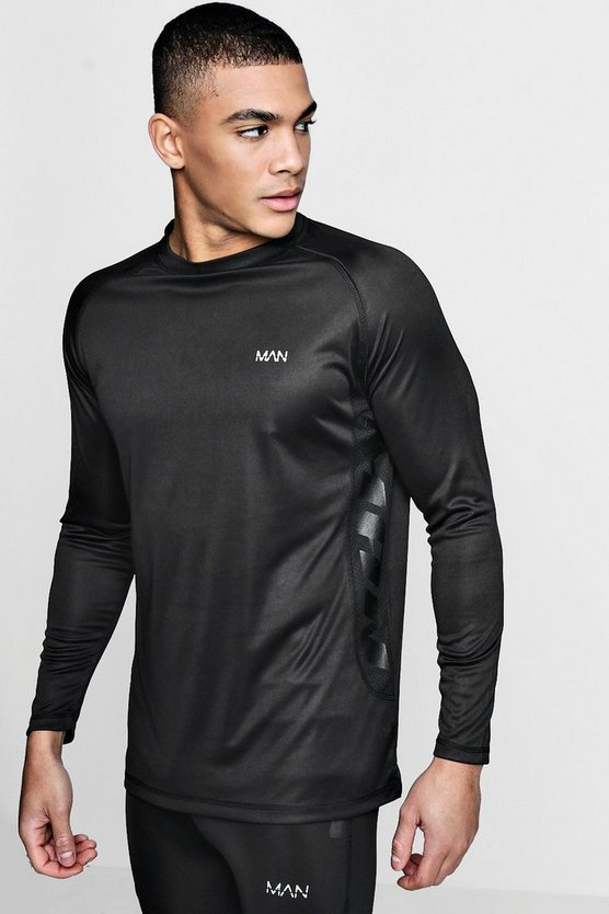 Long Sleeve Active Side Print Gym T-Shirt