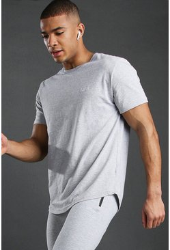 Mens Grey Short Sleeve Active Gym T-Shirt
