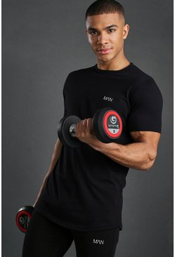 Herr Black Short Sleeve Active Gym T-Shirt