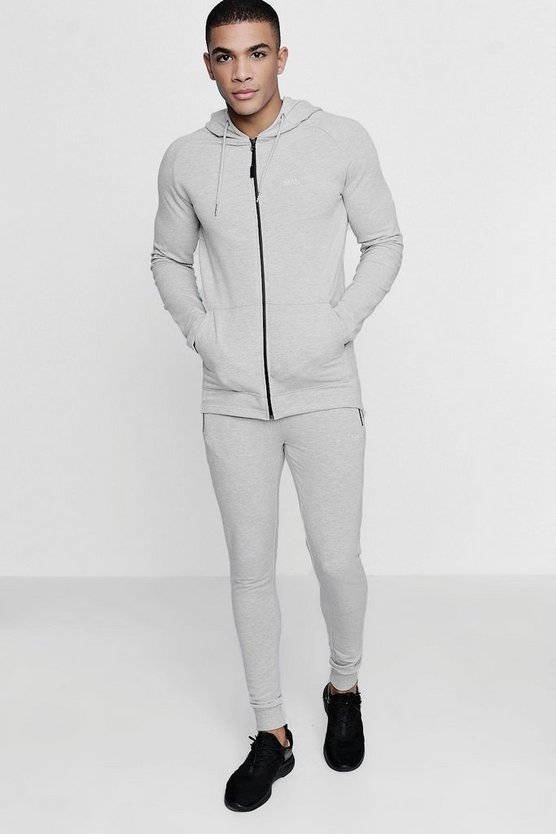 Skinny Fit Active Hooded Gym Tracksuit