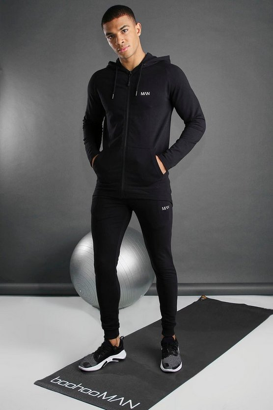 Mens Black Skinny Fit Active Hooded Gym Tracksuit