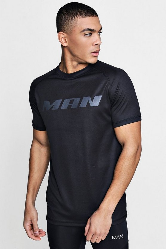 Mens Black Active Short Sleeve Gym T-Shirt