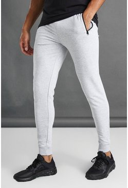 Grey Skinny Fit Active Gym Joggers With Zip Pockets