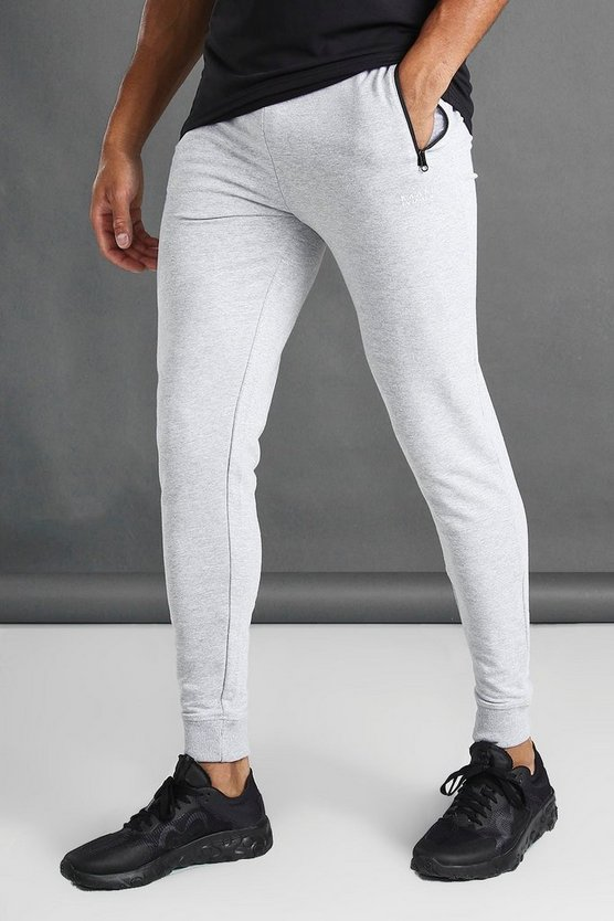 Skinny Fit Active Gym Joggers With Zip Pockets