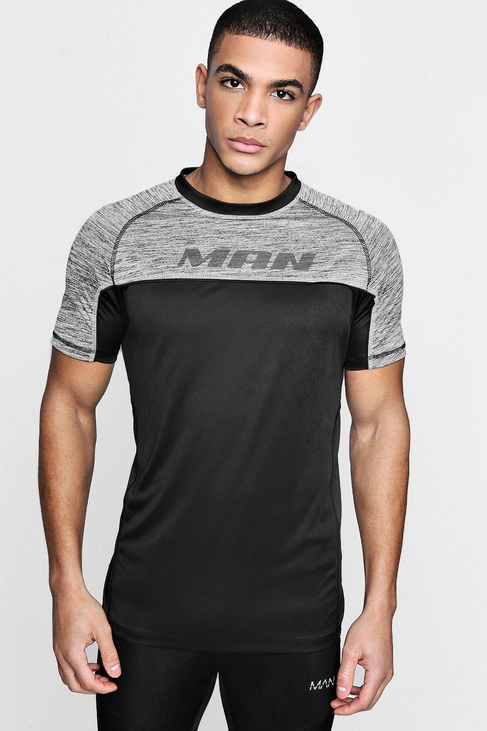 T Shirt Mit Sportlicher Man Print Und Paspelierung Boohoo