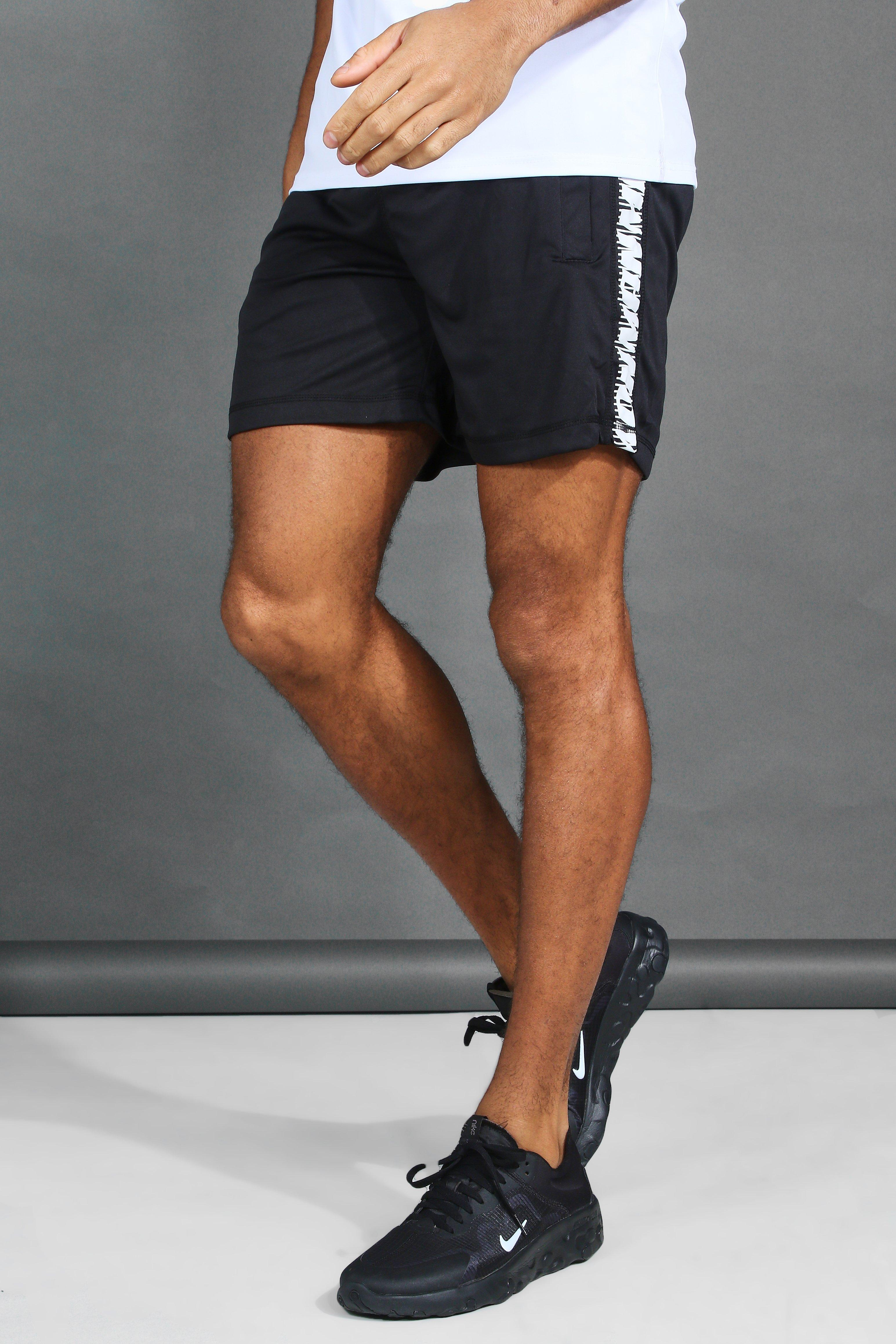 Active Gym Shorts With Printed Side Panel