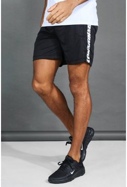 Herr White Active Gym Shorts With Printed Side Panel