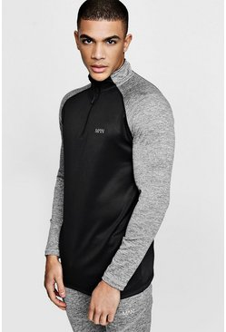 Mens Black Active Funnel Neck Track Gym Top